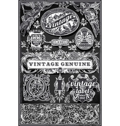 Vintage retro labels on blackboard vector