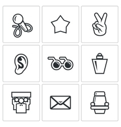 Blind listening songs artist icons set vector