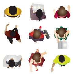 People standing top view set 7 for interior vector