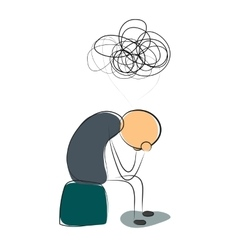 Depressed man with many thoughts vector