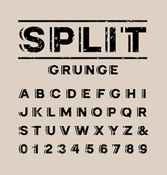 Grunge font alphabet with split effect letters and vector