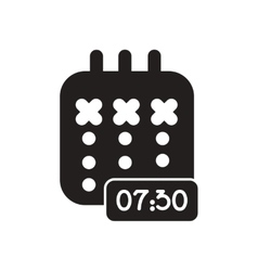 Flat icon in black and white diary vector