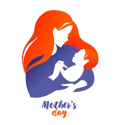 Beautiful mother silhouette with baby logo on vector image