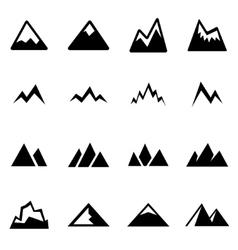 black mountains icon set vector image