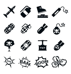 Bomb icons Black and white bombs signs pictograms vector image vector image