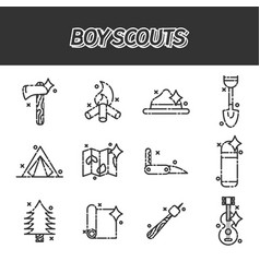 boy scouts concept icons vector image