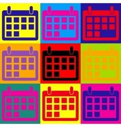 Calendar sign pop-art style icons set vector
