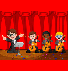 Classic symphony orchestra on stage vector