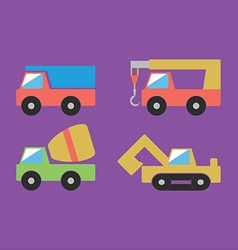 Construction cars set vector