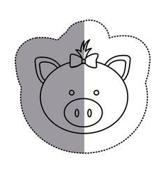 Contour face pig ribbon bow head icon vector