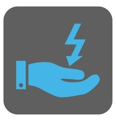 Electric energy service hand rounded square vector