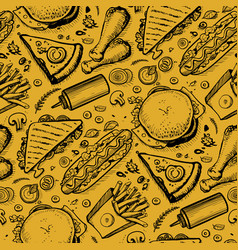 Fast food hand drawn vintage pattern vector