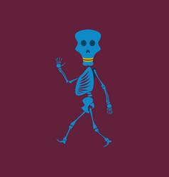 Flat on background of skeleton vector