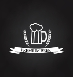 Glass of beer logo on the chalkboard vector image