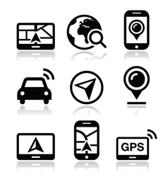 Gps navigation travel icons set vector