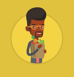 Happy man holding grocery shopping bag vector