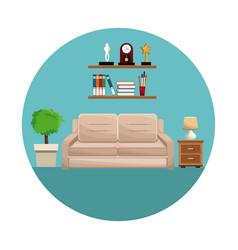 Living room sofa shelf books trophy clock lamp vector