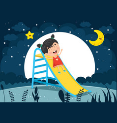 of kid sliding vector image vector image