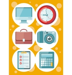 Office and time management icon set vector