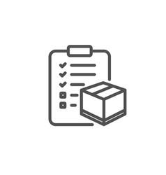 Parcel checklist line icon logistics check vector