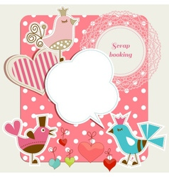 Scrap booking set funny birds frames hearts speech vector image vector image