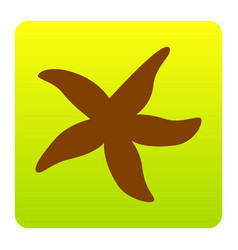 sea star sign brown icon at green-yellow vector image