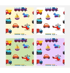 Seamless pattern with cute baby transport toys vector