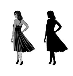 Silhouette of a girl with ball gown vector image