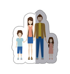 Sticker color silhouette family and dad with vector