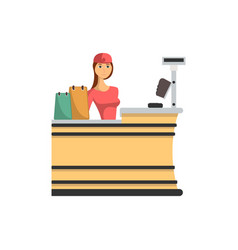 Supermarket checkout counter with cashier icon vector