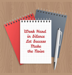 Text work hard in silence vector