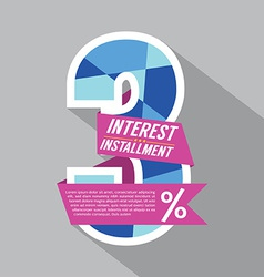Three percent interest installment vector