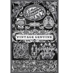 Vintage retro labels on blackboard vector