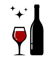 Wine glass and bottle with star vector