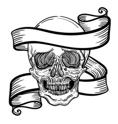 with a human skull and ribbon vector image vector image