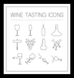 Wine tasting icons vector