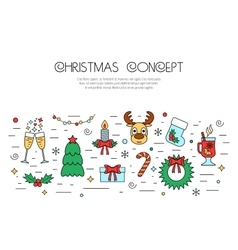 Christmas and New Year colorful isolated concept vector image