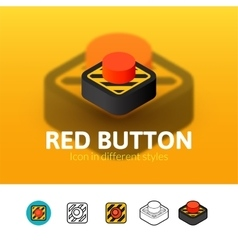 Red button icon in different style vector image