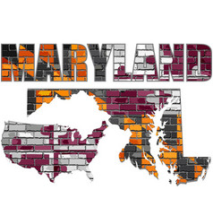 maryland on a brick wall vector image