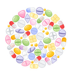 Different colorful medical pills capsules and vector