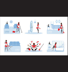 Colorful working housewifes set vector