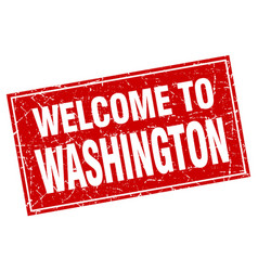 Washington red square grunge welcome to stamp vector