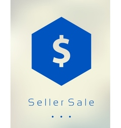 Sale discount dollar sign button on blurred vector