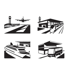Transport stations with vehicles in perspective vector