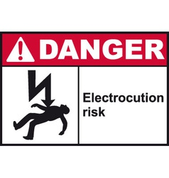 Danger electrocution risk safety sign vector