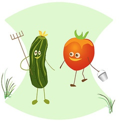 Fun with a rake cucumber and tomato with a bucket vector