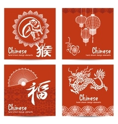 Chinese cards set vector