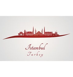 Istanbul skyline in red vector image