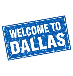 Dallas blue square grunge welcome to stamp vector