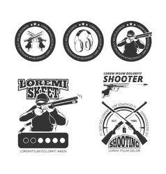 Vintage gun pistol club labels emblems vector